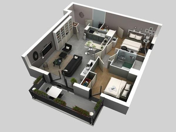 Mẫu thiết kế căn hộ 50m2 kiểu hiện đại nhất