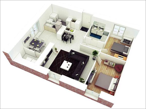 Mẫu thiết kế căn hộ ngăn cách giữa các phòng