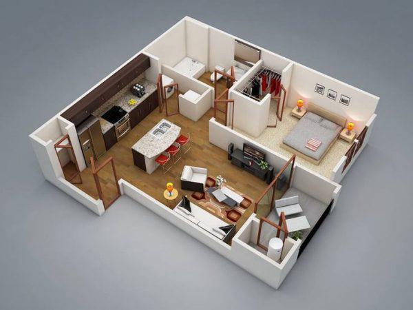 Mẫu thiết kế căn hộ nhỏ 50m2 một phòng ngủ