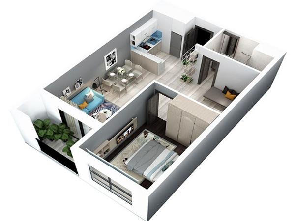 Mẫu thiết kế nội thất chung cư nhỏ hơn 50m2